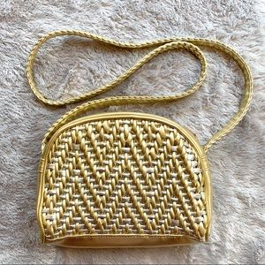 Handbags - Vintage Gold & Silver Woven Faux Leather Crossbody